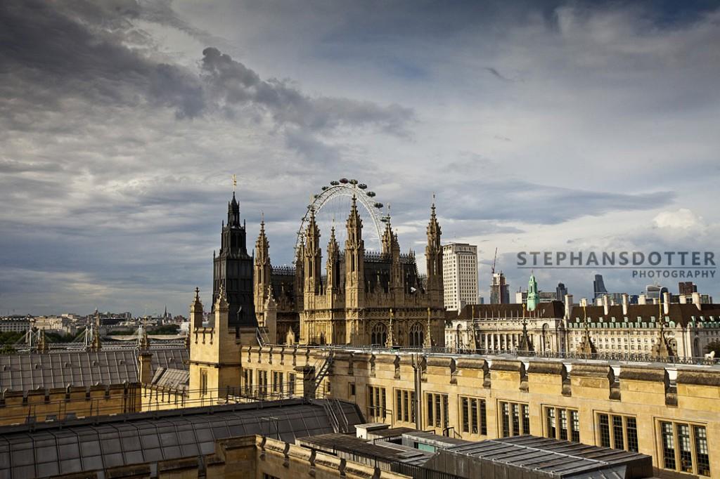 London Eye från taket på Parlamentet